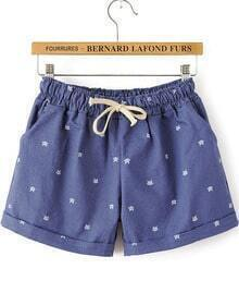 Blue Drawstring Waist Cats Print Shorts