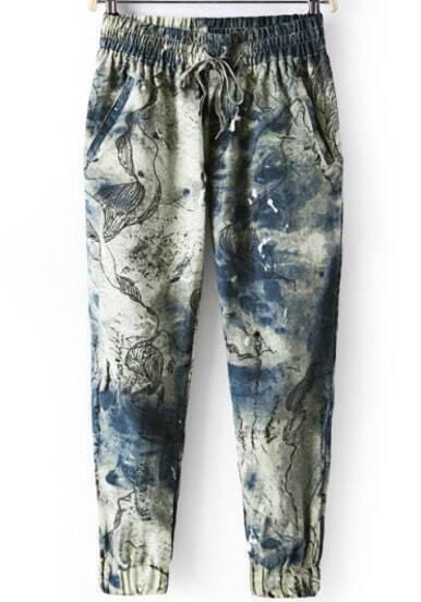 Blue Elastic Waist Ink Floral Loose Pant