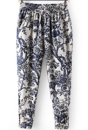 Blue Elastic Waist Branch Print Loose Pant