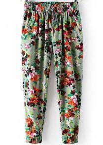 Green Elastic Waist Peach Blossom Print Loose Pant