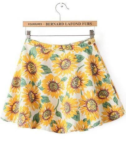 Yellow High Waist Sunflower Print Flare Skirt