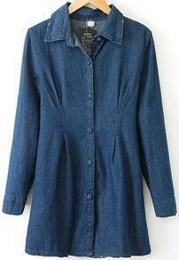 Navy Lapel Long Sleeve Buttons Denim Coat