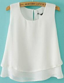 White Sleeveless Double Layer Chiffon Vest