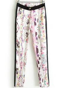 White Pockets Floral Vertical Stripe Pant