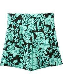Green High Waist Floral Zipper Shorts