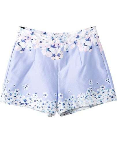 Light Blue Floral Pockets Straight Shorts