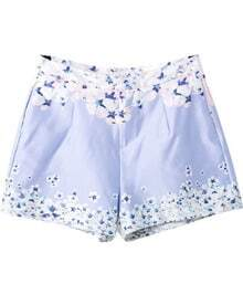 Light Blue Floral Pockets Straight Shorts