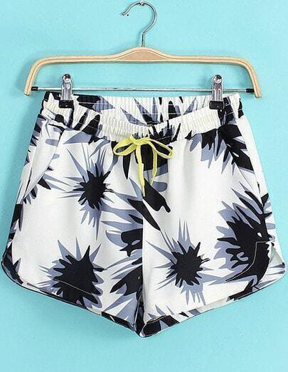 White Drawstring Waist Floral Loose Shorts