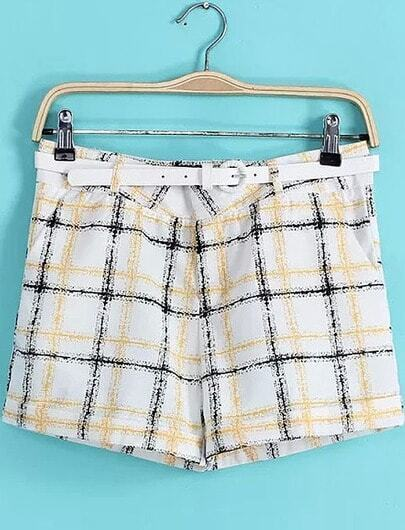 White Slim Plaid Pockets Shorts