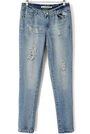 Blue Vintage Bleached Ripped Denim Pant