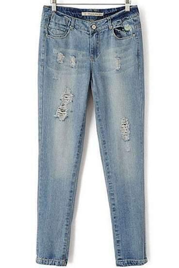 Blue Vintage Bleached Ripped Denim Pant