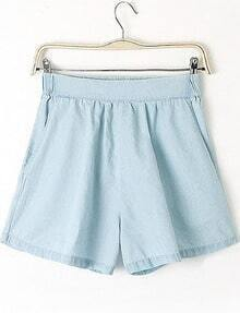 Light Blue Elastic Waist Loose Denim Shorts
