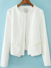 White Long Sleeve Pockets Chiffon Coat