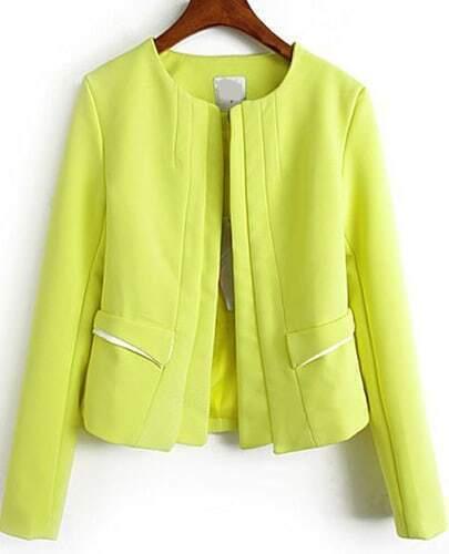 Yellow Long Sleeve Pockets Chiffon Coat