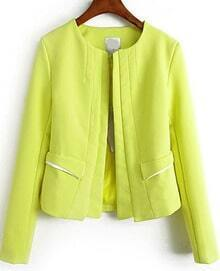 Yellow Long Sleeve Pockets Chiffon Coat