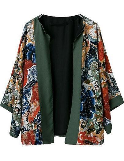 Green Long Sleeve Tribal Print Loose Coat