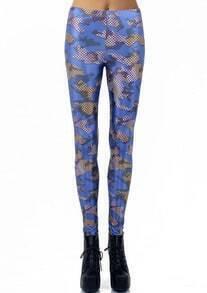 Blue Net Print Skinny Leggings