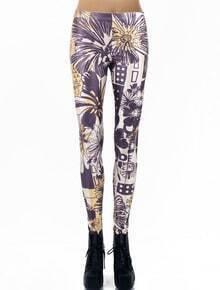 Purple Digital Floral Skinny Leggings