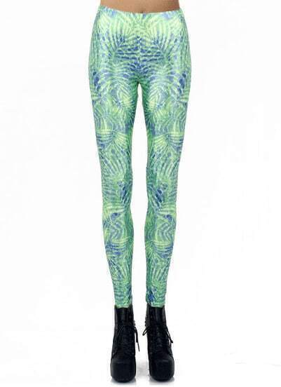Green Digital Leaves Print Elastic Leggings