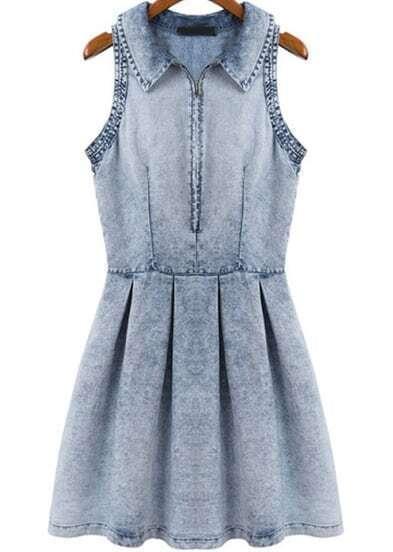 Blue Lapel Sleeveless Pleated Denim Dress