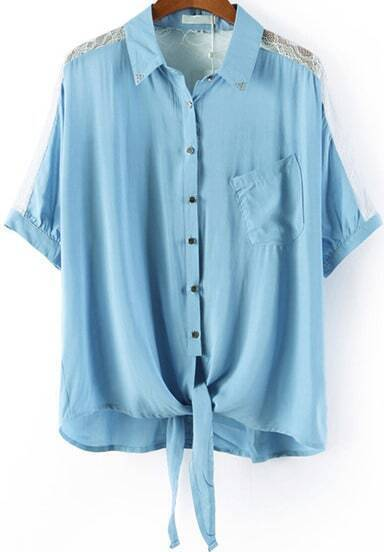 Blue Lapel Contrast Lace Pocket Blouse