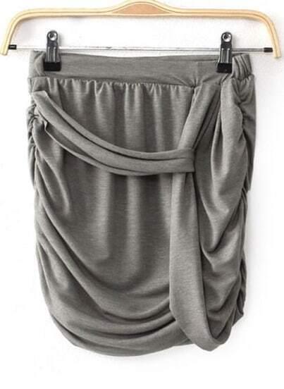Grey Asymmetrical Bodycon Skirt