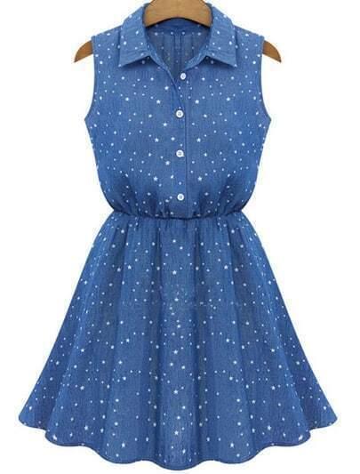 Blue Lapel Sleeveless Stars Print Pleated Dress
