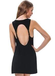 Black Sleeveless Backless Loose Dress