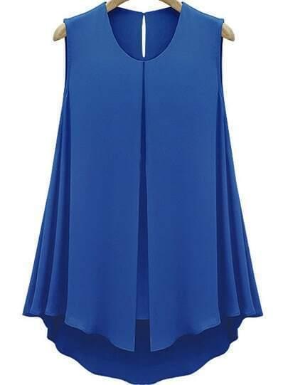 Blue Sleeveless Double Layers Chiffon Blouse