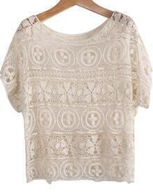 Apricot Short Sleeve Hollow Lace T-Shirt