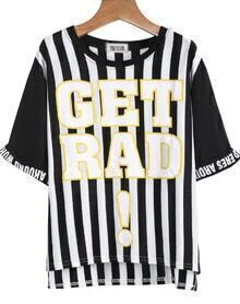 Black Short Sleeve Vertical Stripe Letters Print T-Shirt