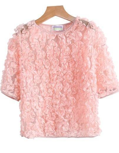 Pink Short Sleeve Flowers Embellished Blouse