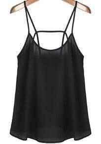 Black Spaghetti Strap Loose Chiffon Vest
