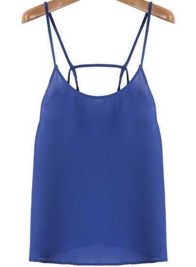 Blue Spaghetti Strap Loose Chiffon Vest