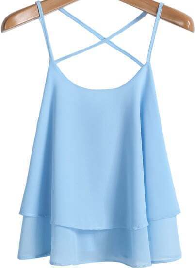 Blue Criss Cross Loose Chiffon Vest