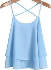Blue Criss Cross Loose Chiffon Vest