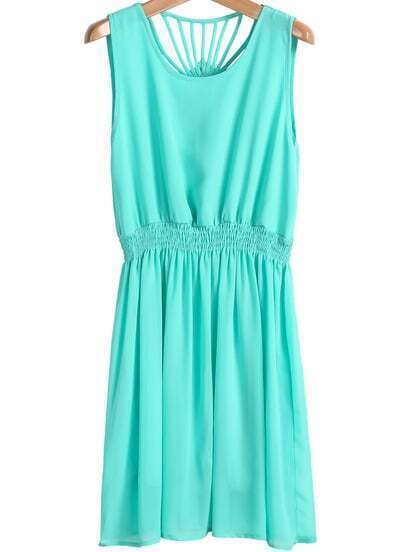 Green Sleeveless Back Hollow Pleated Chiffon Dress