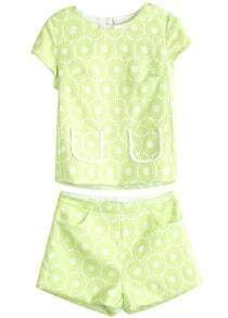 Green Short Sleeve Embroidered Top With Shorts