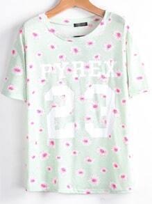 Green Short Sleeve Daisy 23 Print T-Shirt