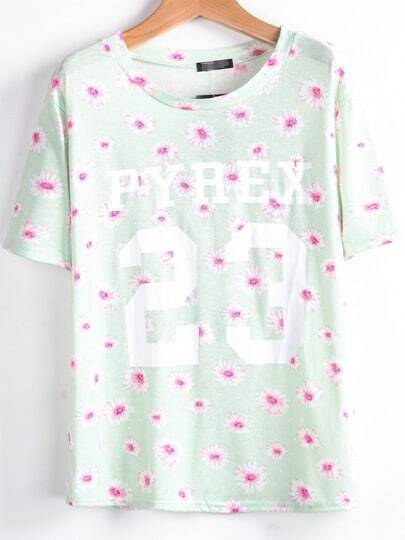Green Short Sleeve Daisy 23 Print T-Shirt