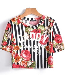 Red Short Sleeve Vertical Stripe Floral T-Shirt