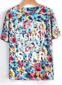 Blue Short Sleeve Floral Letters Print T-Shirt