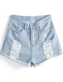 Light Blue Ripped Pockets Flange Denim Shorts