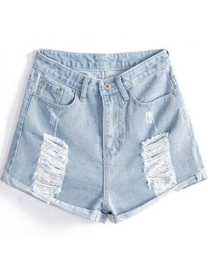 Light Blue Ripped Pockets Flange Denim Shorts