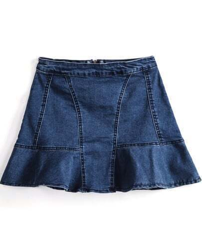 Navy Zipper Ruffle Denim Skirt
