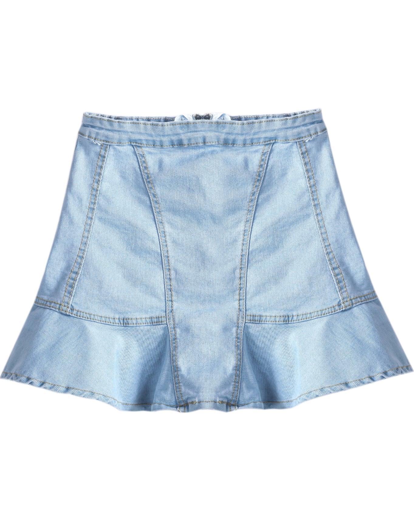 blue zipper ruffle denim skirt shein sheinside