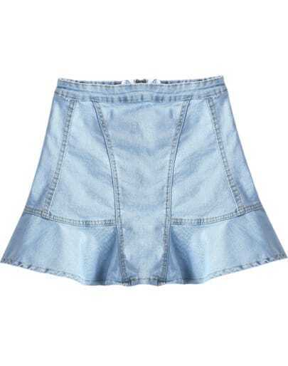 Blue Zipper Ruffle Denim Skirt