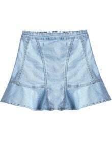 Blue Zipper Ruffle Denim Skirt