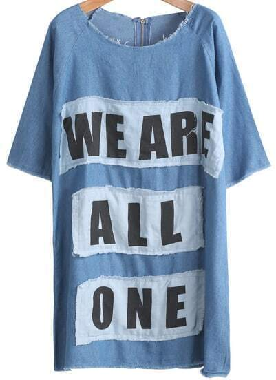 Blue Short Sleeve Letters Print Loose Denim Dress