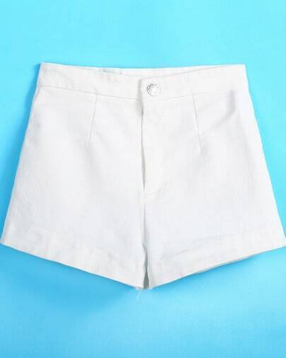 White Button Straight Shorts